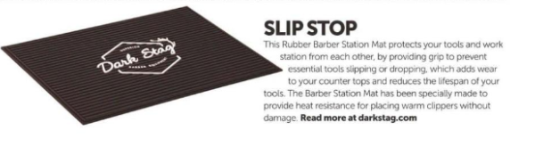 The Dark Stag Rubber Barber Station Mat featured in The Barber Magazine February 2019